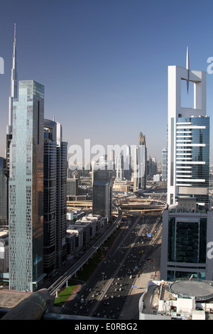 Skyscrapers line either side of Sheikh Zayed Road in Dubai on Monday 5 May, 2014. - Stock Photo