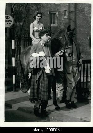 Feb. 02, 1959 - Modern Lady Godiva - in Cambridge.; The streets of Cambridge were the scene of a ride by a 20th. - Stock Photo