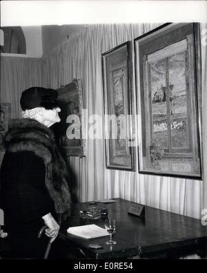 Apr. 04, 1959 - A guest looks at three painting entitled ''The Bay Window, Tryptych,'' By the American Artist Lilian - Stock Photo