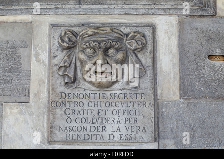 Lion's Mouth postbox for anonymous denunciations, Doge's palace, Venice - Stock Photo