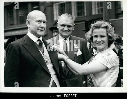 May 05, 1959 - Inauguration Of The Fourth June Dairy Festival Lord Mayor Receives A Daisy: Representatives from - Stock Photo