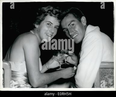 Jul. 07, 1959 - Champion Toast Champion. Photo Shows: Wimbledon men's and women's singles champions - Alex Olmedo, - Stock Photo