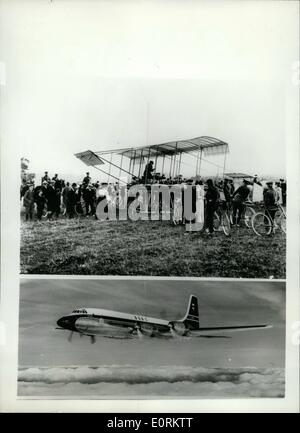 Jan. 01, 1960 - Ancient and Modern, Fifty Years of Aviation, the 'Boxkite' and the Bristol Britannia. The Famous - Stock Photo