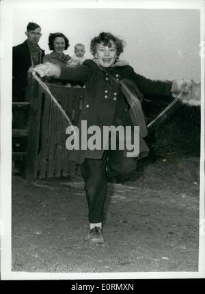 Mar. 03, 1960 - Faith Healer cures young Poliomyelitis Victim, Now little Mary skips her way to school; A year ago - Stock Photo