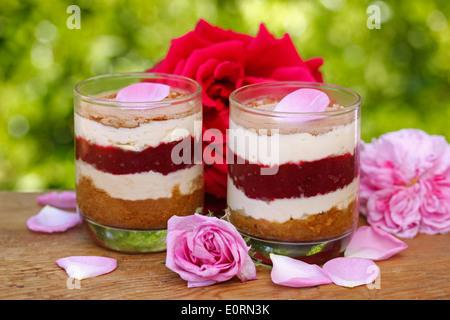 Roses tiramisu. Recipe available. - Stock Photo