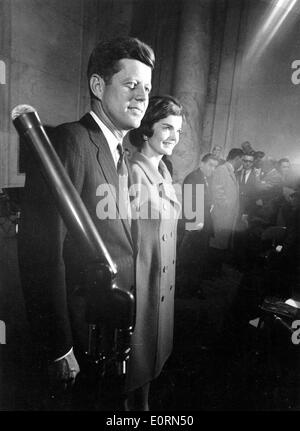 President John F. Kennedy and wife during election - Stock Photo