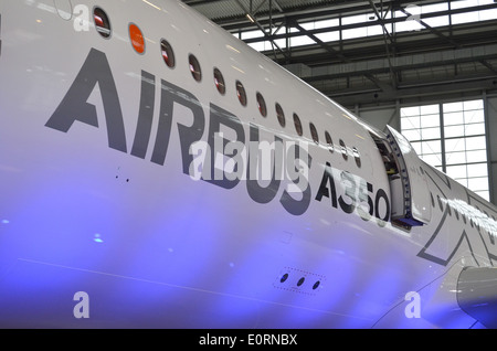 Fuselage of an Airbus A350XWB at the Airbus headquarters in Finkenwerder, Hamburg, Germany - Stock Photo