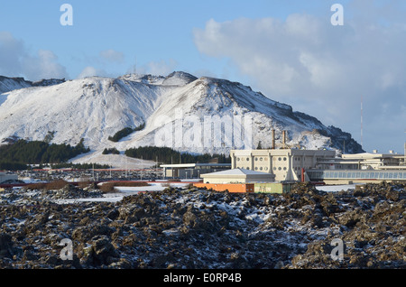 Svartsengi geothermal electrical power station near Grindavik, Iceland - Stock Photo