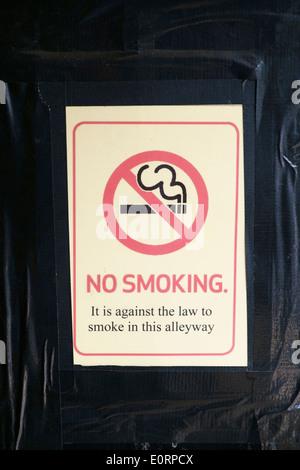 No smoking sign outside a pub, UK - Stock Photo
