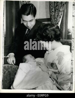 Apr. 16, 1960 - The Japanese baby Prince - and his parents: Prince Hiro Naruhito, the newly born baby son of Crown - Stock Photo