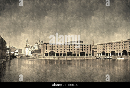 Albert Dock and Liver Buildings Liverpool UK, Vintage filter applied - Stock Photo