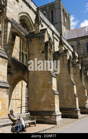 Flying buttresses on Winchester Cathedral, Winchester, Hampshire, England, UK - Stock Photo