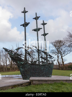 Coffin ship sculpture in Murrisk, County Mayo, Republic of Ireland to commemorate Great Famine in Eire and emigration - Stock Photo