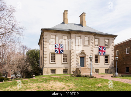 Carlyle House in center of the old town of Alexandria in Virginia, USA - Stock Photo