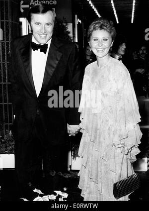 Journalist David Frost at an event with Lynne Frederick - Stock Photo