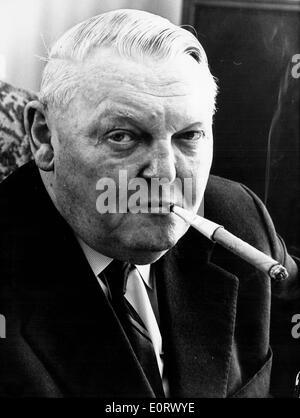 Portrait of Ludwig Erhard smoking a cigar - Stock Photo