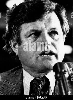Senator Edward Kennedy speaking at press conference - Stock Photo