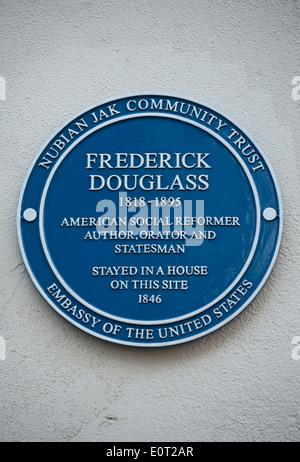 nubian jak blue plaque marking a home of american reformer and statesman frederick douglass, chelsea, london, england - Stock Photo