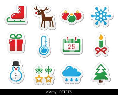 Christmas winter black icons set as labels - Stock Photo
