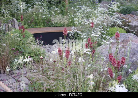 Chelsea, London, UK. 19th May 2014. RHS Chelsea Flower Show 2014 - Vital Earth: The Night Sky Garden - Bord Na Móna - Stock Photo
