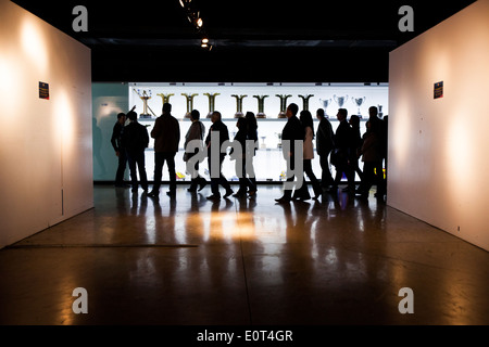 Group of people at the FC. Barcelona museum - Stock Photo