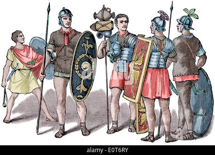 Gallic Wars. 58-50 BC. Roman soldiers and equipment. Caesaar in Gaul, 1917. Engraving. Color. - Stock Photo
