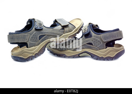 Gray summer shoes on a white background - Stock Photo