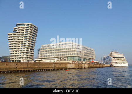 Marco Polo Tower, Unilever House, and AIDAsol cruiser, Harbour City, Hamburg, Germany - Stock Photo