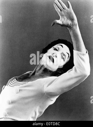 Marcel Marceau (1923-2007), French Actor and Mime, Portrait with White Makeup, circa 1960's - Stock Photo