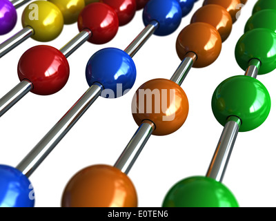 3d render of an abacus with colorful balls - Stock Photo