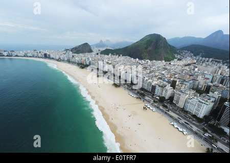 RIO DE JANEIRO, MAY 15th 2014 Overview of Rio de Janeiro's Copacabana beach. Photo by Antonio Scorza - Stock Photo