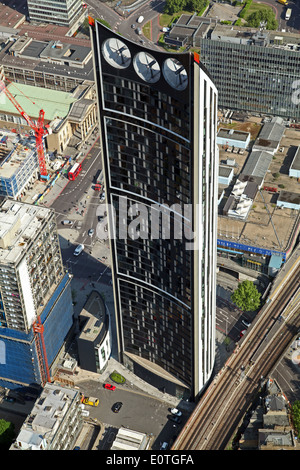 aerial view of the Strata Tower building at the Elephant & Castle, London, UK - Stock Photo
