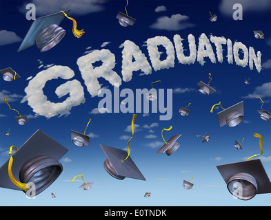 Graduation celebration concept as a group of mortar boards thrown up to the sky with the word for graduate success - Stock Photo