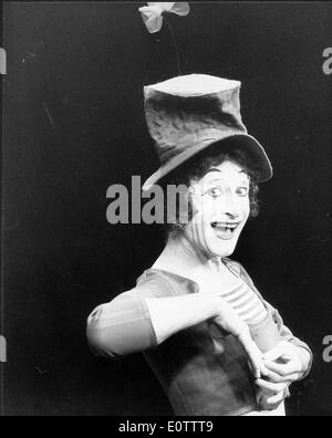 French mime artist and actor Marcel Marceau - Stock Photo
