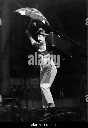 French mime Marcel Marceau walking the tightrope - Stock Photo
