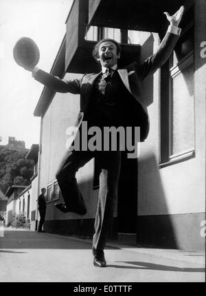 French mime Marcel Marceau excited on the streets of Paris - Stock Photo