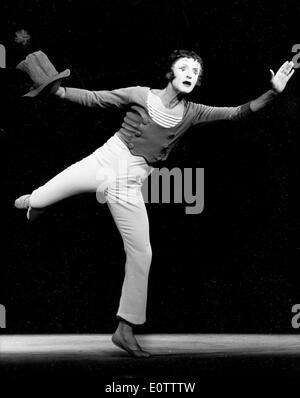 French mime Marcel Marceau on stage performing - Stock Photo