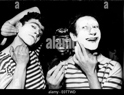 French mime Marcel Marceau preparing for a show with other mimes - Stock Photo