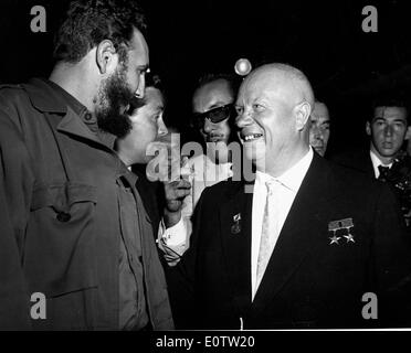 Nikita Khrushchev and Fidel Castro at General Assembly - Stock Photo