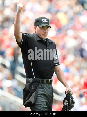 Baseball Home plate umpire signals strike call high school ...