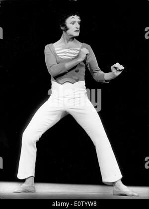 Marcel Marceau miming on stage - Stock Photo