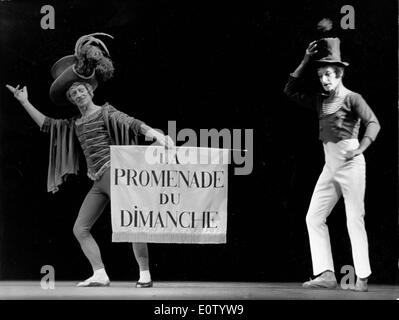 French mime Marcel Marceau on stage with another mime - Stock Photo
