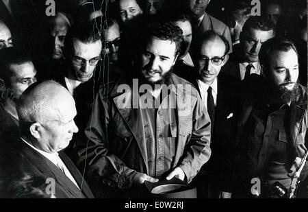 Fidel Castro and Nikita Khrushchev at Soviet Mission - Stock Photo