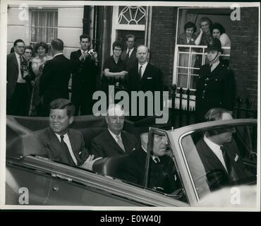 Jun. 06, 1961 - All eyes on the President: All eyes are on U.S. President John F. Kennedy (left), as he leaves the - Stock Photo