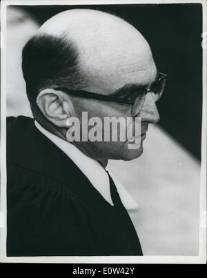 Apr. 04, 1961 - Trial of Adolf Eichmann continues in Jerusalem. Gideon Hausner - prosecution counsel.: The trial - Stock Photo