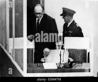 Adolf Eichmann during his trial in Jerusalem - Stock Photo