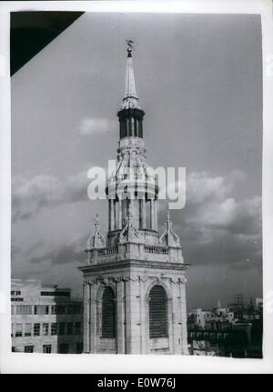 Dec. 12, 1961 - Bow Bells To Ring Again This Month....Scaffolding Removed From Spire The elegant Wren-designed columned - Stock Photo