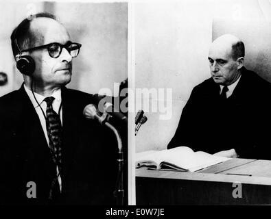 Adolf Eichmann during his trial in Jerusalem - Stock Photo