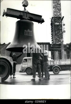 Nov. 11, 1961 - The new Olympia bell arrived in West Berlin: Today in West Berlin the new Olympia bell arrived. - Stock Photo