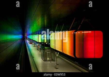 Light installation in the U-Bahn HafenCity Universität subway station, U4 subway line, HafenCity, Hamburg, Germany - Stock Photo